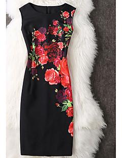 Damen Bodycon Kleid-Ausgehen Lässig/Alltäglich Street Schick Blumen Rundhalsausschnitt Knielang Ärmellos Baumwolle Frühling Mittlere