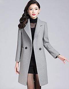 Langærmet Krave Damer Normal Ensfarvet Vinter Simple I-byen-tøj Afslappet/Hverdag Plusstørrelser Frakke,Polyester