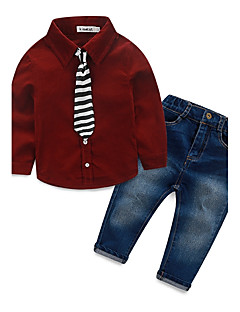 Jungen Sets einfarbig Baumwolle Polyester Elasthan Herbst Winter Lange Ärmel Kleidungs Set