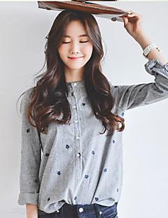 Damen Solide Einfach Lässig/Alltäglich Hemd,Ständer Sommer Langarm Baumwolle Dünn