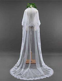 Véus de Noiva Duas Camadas Véu Capela Borda com aplicação de Renda Borda Recortada Renda Tule
