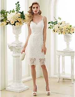 Sheath / Column Spaghetti Straps Knee Length Lace Wedding Dress with Lace by LAN TING BRIDE®