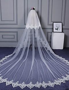 Véus de Noiva Duas Camadas Véu Cotovelo Véu Catedral Corte da borda Borda com aplicação de Renda Renda Tule