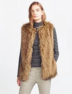 Dames Eenvoudig Herfst Winter Vest,Uitgaan Casual/Dagelijks Effen Ronde hals Mouwloos Normaal Imitatiebont Acryl