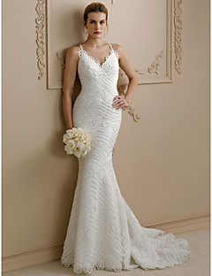 Mermaid / Trumpet Spaghetti Straps Sweep / Brush Train Lace Wedding Dress with Appliques Buttons by LAN TING BRIDE®