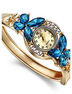 לנשים שעוני אופנה שעון צמיד קווארץ חיקוי יהלום סגסוגת להקה צמיד אלגנטי זהב לבן כחול קשת