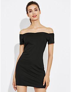 Damen A-Linie Kleid-Ausgehen Einfach Solide Bateau Übers Knie Ärmellos Baumwolle Sommer Mittlere Hüfthöhe Mikro-elastisch Mittel