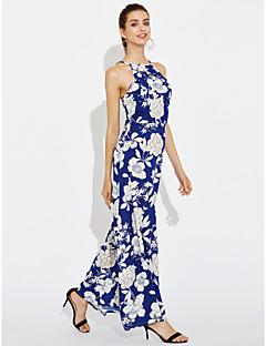 קיץ אחרים ללא שרוולים מקסי צווארון עגול פרחוני וינטאג' פשוטה ליציאה מסיבה\קוקטייל שמלה נדן נשים,גיזרה בינונית (אמצע) מיקרו-אלסטיבינוני