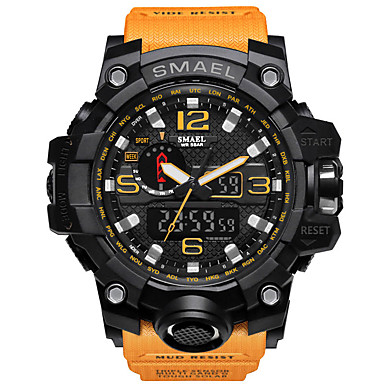88c65e83d رخيصةأون ساعات رجالية-SMAEL رجالي ساعة رياضية ساعة عسكرية ساعه اسورة رقمي  جلد اصطناعي أسود