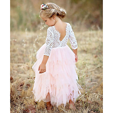 8db971f373f Παιδιά Κοριτσίστικα Βασικό Καθημερινά Μονόχρωμο Δαντέλα / Πολυεπίπεδο Μακρυμάνικο  Βαμβάκι / Πολυεστέρας Φόρεμα Ρουμπίνι