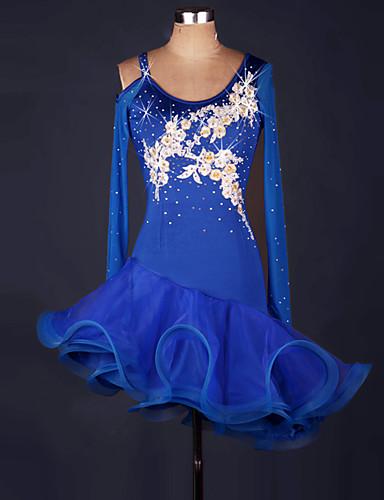 f5ba7e22f641 Latinské tance Šaty Dámské Výkon Spandex   Organza Volány   Květiny    Barevně dělené Dlouhý rukáv Vysoký Šaty