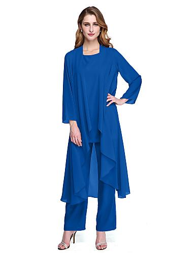 85952ed916e Παντελόνια Scoop Neck Μέχρι τον αστράγαλο Σιφόν Φόρεμα Μητέρας της Νύφης με  Πλισέ με LAN TING BRIDE® / Εσάρπα περιλαμβάνεται