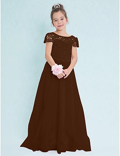 2da9a847adb0 Γραμμή Α Scoop Neck Μακρύ Δαντέλα   Τούλι Φόρεμα Νεαρών Παρανύμφων με  Δαντέλα με LAN TING BRIDE®   Φυσικό
