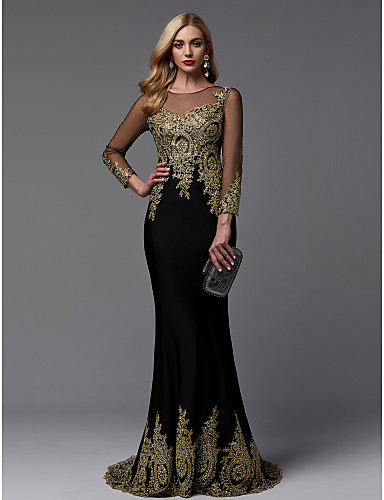 b1679c10a30 Τρομπέτα / Γοργόνα Illusion Seckline Ουρά Spandex / Ζέρσεϊ Επίσημο Βραδινό  Φόρεμα με Χάντρες / Διακοσμητικά Επιράμματα με TS Couture®