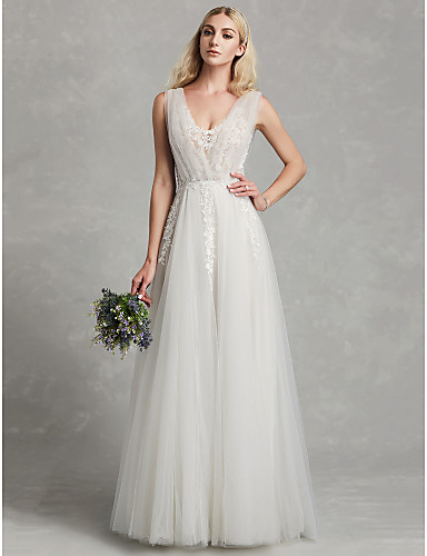 72c209df5576 Γραμμή Α Λαιμόκοψη V Μακρύ Δαντέλα   Τούλι Φορέματα γάμου φτιαγμένα στο  μέτρο με Διακοσμητικά Επιράμματα με LAN TING BRIDE®   Με Όμορφη Πλάτη