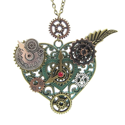 Women's Vintage Style Pendant Necklace Wings Heart Ladies Stylish Vintage Steampunk Heart Ancient Bronze 65 cm Necklace Jewelry 1pc For Gift Street