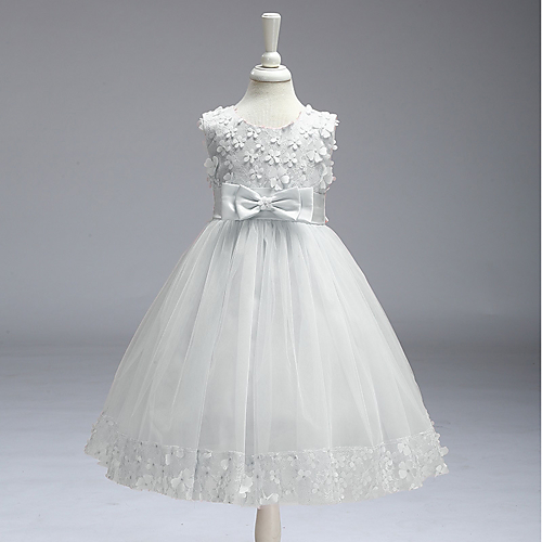 38b10e81a3 A-Line Knee Length Flower Girl Dress - Polyester Sleeveless Jewel Neck with  Appliques   Bow(s) by LAN TING Express