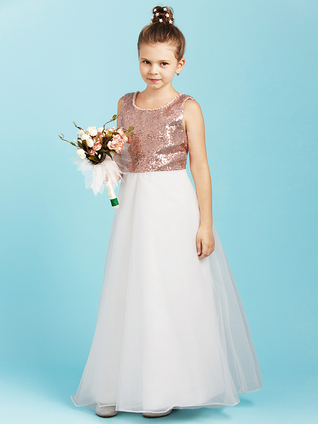c6096aa30f A-Line Jewel Neck Floor Length Organza   Sequined Junior Bridesmaid Dress  with Pearls   Flower by LAN TING BRIDE®   Floral   Open Back