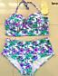 Rojtos / Virágmintás Megkötős Női Bikini , Push-up / Párnás melltartó / Merevítős Melltartó Nejlon / Spandex
