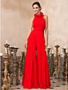 Linia -A Gât Înalt Lungime Podea Șifon Bal Seară Formală Adunare Familială Rochie cu Drapat Flori Ruching Pliuri de TS Couture®
