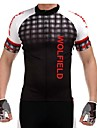 WOLFBIKE Maillot de Cyclisme Homme Manches Courtes Velo Maillot Hauts/Tops Sechage rapide Zip frontal Respirable Materiaux Legers Poche