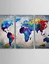 Peint a la main Abstrait Panoramique Horizontale,Moderne Trois Panneaux Toile Peinture a l\'huile Hang-peint For Decoration d\'interieur