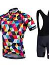 Fastcute Maillot et Cuissard a Bretelles de Cyclisme Homme Unisexe Manches Courtes Velo Collant a Bretelles/Corsaire Bretelles Maillot
