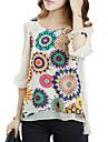 Femei Rotund Bluză Casul/Zilnic Plus Size / Simplu(ă),Floral Manșon scurtAlbastru / Alb Mediu Celofibră