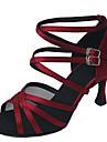 Chaussures de danse(Noir Leopard Rouge fonce Amande) -Personnalisables-Talon Personnalise-Satin Similicuir-Latines Jazz Salsa Chaussures