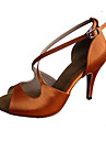 Chaussures de danse(Marron fonce) -Personnalisables-Talon Personnalise-Satin-Latines Jazz Salsa Chaussures de Swing