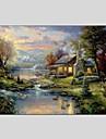 Peint a la main Paysage Panoramique Horizontale,Moderne Classique Un Panneau Toile Peinture a l\'huile Hang-peint For Decoration