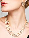 Pentru femei Seturi de bijuterii Cercei Picătură Κολιέ με Πέρλες La modă European de Mireasă Elegant costum de bijuterii Perle Ștras Aliaj
