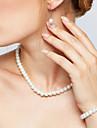 Pentru femei Seturi de bijuterii Colier / cercei Toroane Coliere Elegant de Mireasă costum de bijuterii Perle Circle Shape Σκουλαρίκια