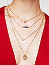 Pentru femei Coliere Layered Round Shape Heart Shape Placat Auriu Aliaj Inimă Multistratificat La modă costum de bijuterii Bijuterii
