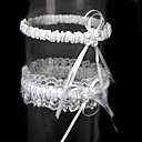 cheap Wedding Flowers-Lace / Satin Classic Wedding Garter With Ribbon Tie / Flower Garters