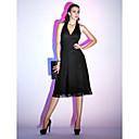 Χαμηλού Κόστους μακιγιάζ βούρτσα σύνολα-Γραμμή Α Δένει στο Λαιμό Κάτω από το γόνατο Σιφόν Μικρό Μαύρο Φόρεμα Κοκτέιλ Πάρτι Φόρεμα με Πιασίματα με TS Couture®