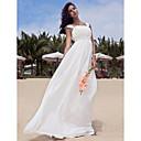 Χαμηλού Κόστους Καλτσοδέτες γάμου-Γραμμή Α Τετράγωνη Λαιμόκοψη Μακρύ Σιφόν Φορέματα γάμου φτιαγμένα στο μέτρο με Χάντρες / Που καλύπτει με LAN TING BRIDE®