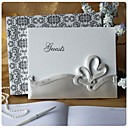 cheap Stickers, Labels & Tags-Double Hearts Wedding Guest Book In Resin