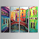 cheap Top Artists' Oil paitings-Oil Painting Hand Painted - Landscape Canvas Four Panels