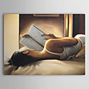 cheap Wall Stickers-Oil Painting Hand Painted - People Comtemporary Canvas