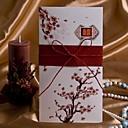"""hesapli Düğün Davetiyeleri-Yandan Katlamalı Düğün Davetiyeleri Davet Kartları Sanatsal Tarz Çiçek Tarzı Kart Kağıdı 8 ½""""×4"""" (20.8*10.3cm) Kurdeleler"""