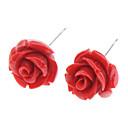 זול סטים של תכשיטים-בגדי ריקוד נשים עגילים צמודים - פלדת על חלד ורדים, פרח לבן / צהוב / אדום עבור יומי