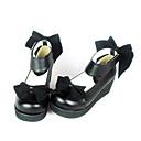 hesapli Lolita Ayak Malzemeleri-Ayakkabılar Klasik / Geleneksel Lolita Klasik Lolita Prenses Dolgu Dolgu Topuk Ayakkabılar Fiyonk Düğüm 4.5cm CM Siyah Uyumluluk PU Deri