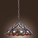 tanie Oświetlenie Tiffany-lekki wisiorek tiffany z 2 światła w artystycznej wzorzyste cieniu