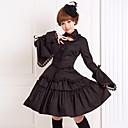 halpa Lolita-mekot-Gothic Lolita Nauhat Gootti-Lolita Pitsi Naisten Asut Cosplay Musta Puhvihiha Pitkähihainen Polvipituinen Keskipitkä Halloween-asut