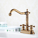 cheap Faucet Sets-Bathroom Sink Faucet - Widespread Antique Brass Centerset Two Holes Two Handles Two Holes