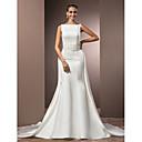 olcso Menyasszonyi fátyol-Sellő fazon Bateau nyak Katedrális uszály Szatén Made-to-measure esküvői ruhák val vel Gyöngydíszítés által LAN TING BRIDE®