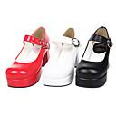 hesapli Latin Dans Ayakkabıları-Ayakkabılar Klasik / Geleneksel Lolita Elyapımı Yüksek Topuk Ayakkabılar Solid 7.5 cm CM Beyaz / Siyah / Kırmzı Uyumluluk PU Deri / Poliüretan Deri Cadılar Bayramı Kostümleri