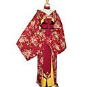 billige Lolitakjoler-Japansk Kimono Dame Nytt År Maskerade Festival / høytid Halloween-kostymer Drakter Rød Blomstret