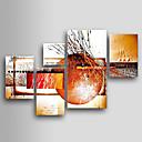 billige Blomster-/botaniske malerier-Hang malte oljemaleri Håndmalte - Abstrakt Klassisk Tradisjonell Fem Paneler